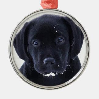 Black Labrador - Snow Puppy Christmas Ornament