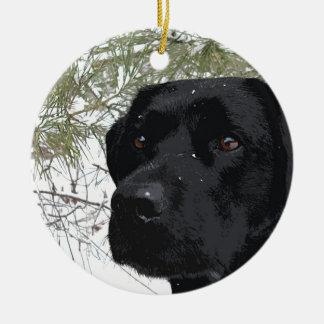 Black Labrador - Sparkling Pines Round Ceramic Decoration