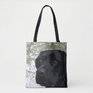 Black Labrador - Sparkling Pines Tote Bag