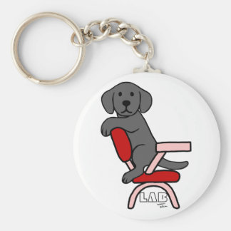 Black Labrador Student 3 Cartoon Basic Round Button Key Ring