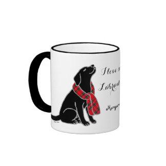 Black Labrador Tartan Scarf 2 Mug