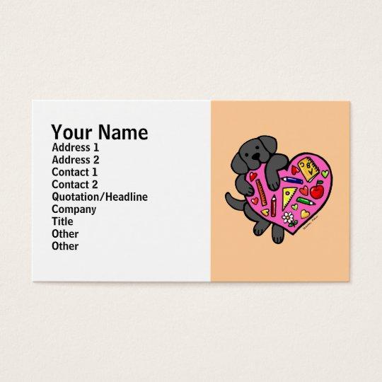 Black Labrador & Teacher's Heart Cartoon