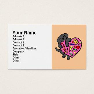 Black Labrador & Teacher's Heart Cartoon Business Card