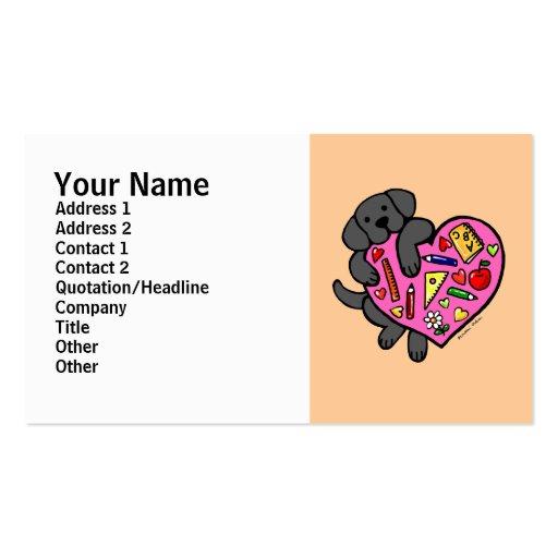 Black Labrador & Teacher's Heart Cartoon Pack Of Standard Business Cards