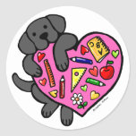 Black Labrador & Teacher's Heart Cartoon Round Sticker