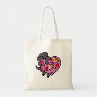 Black Labrador & Teacher's Heart Cartoon Canvas Bag