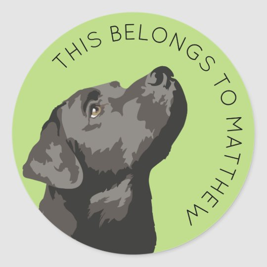 "Black Labrador ""This Belongs To"" Sticker"