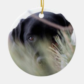 Black Labrador - Thru the Trees Christmas Ornament