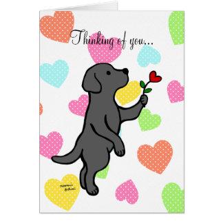 Black Labrador Tiny Heart Flower Cartoon Card