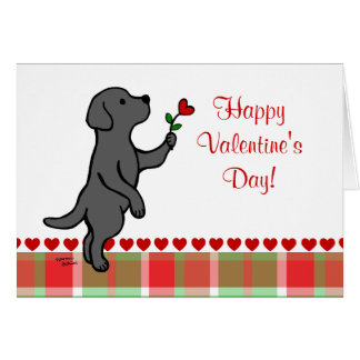 Black Labrador Tiny Heart Flower Valentine Greeting Card