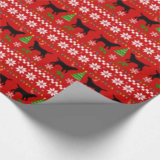Black Labrador Ugly Christmas Pattern Wrapping Paper