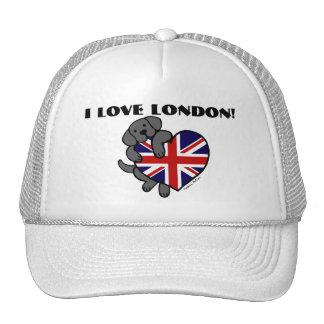 Black Labrador & UK Flag Heart 2 Cartoon Hat