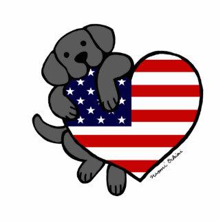 Black Labrador & US Flag Heart 2 Cartoon Photo Sculpture Magnet