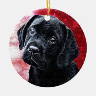 Black Labrador  Valentine Puppy Christmas Ornament