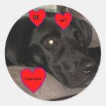 Black Labrador Valentine Sticker