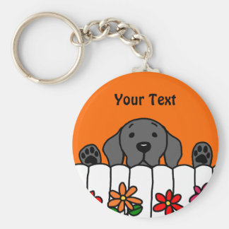 Black Labrador watching you Basic Round Button Key Ring