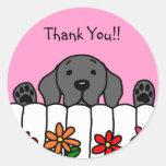 Black Labrador watching you Round Sticker