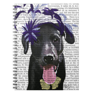 Black Labrador With Blue Fascinator Spiral Notebook