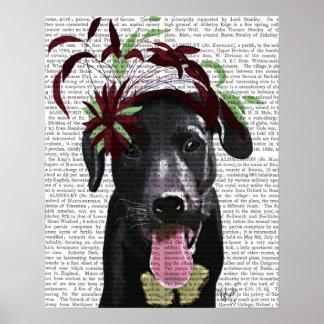 Black Labrador With Green Fascinator Poster