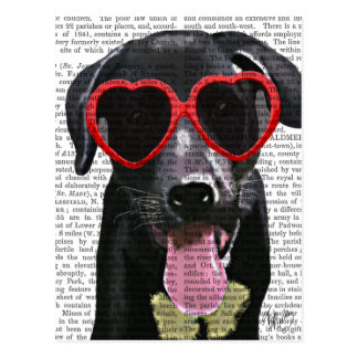 Black Labrador With Heart Sunglasses Postcard