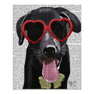 Black Labrador With Heart Sunglasses Poster