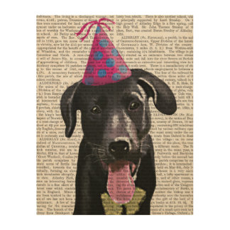 Black Labrador With Party Hat Wood Print