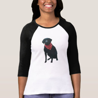 Black Labrador with Red Bandanna Shirt