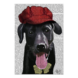 Black Labrador With Red Cap Poster