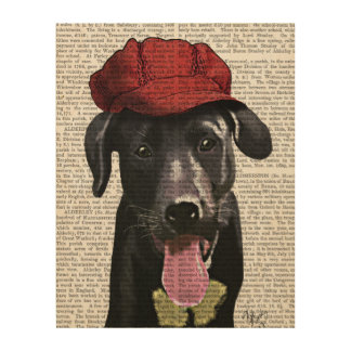 Black Labrador With Red Cap Wood Wall Decor