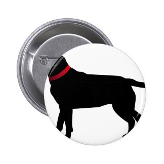 Black Labrador with Red Collar 6 Cm Round Badge
