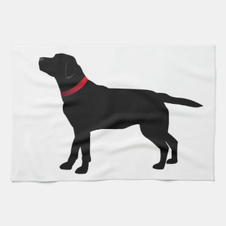 Black Labrador with Red Collar Kitchen Towel