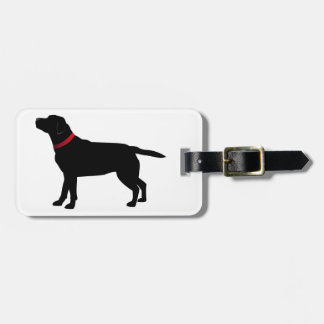 Black Labrador with Red Collar Luggage Tag