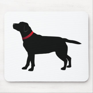 Black Labrador with Red Collar Mouse Mat