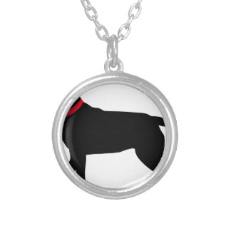 Black Labrador with Red Collar Silver Plated Necklace