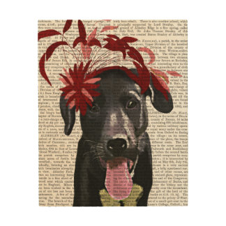 Black Labrador With Red Fascinator Wood Wall Decor