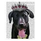 Black Labrador With Tiara Postcard