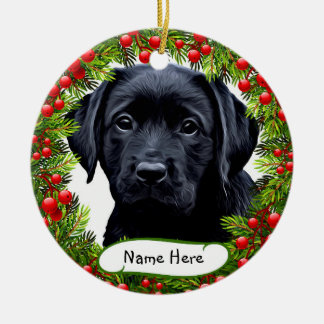 Black Labrador - Wreath Ceramic Ornament