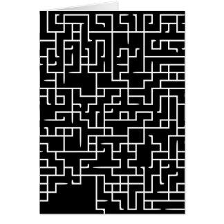 Black labyrinth maze design greeting card