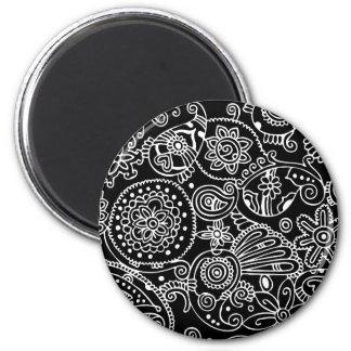 Black Lace 6 Cm Round Magnet