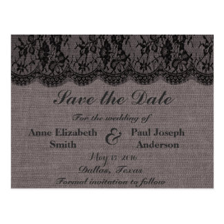 Black Lace and burlap Save the Date Postcard