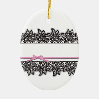 Black Lace and Pink Ribbon Christmas Tree Ornament