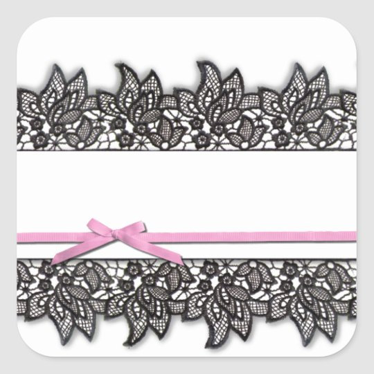 Black Lace and Pink Ribbon Square Sticker