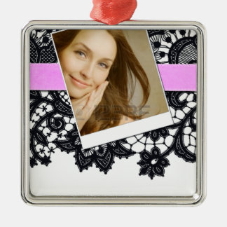 Black Lace and Pink Ribbon with Photo Silver-Colored Square Decoration