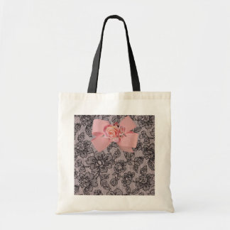 Black Lace and Roses Tote Bag
