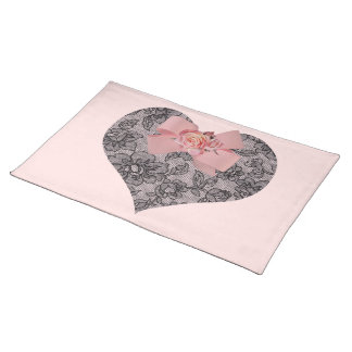 Black Lace and Roses Placemat