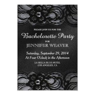 """Black Lace and Satin Bachelorette Party Invitation 3.5"""" X 5"""" Invitation Card"""