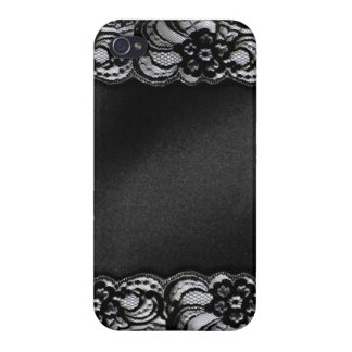 Black Lace and Satin Cover For iPhone 4