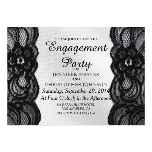 Black Lace and Satin Engagement Party Invites