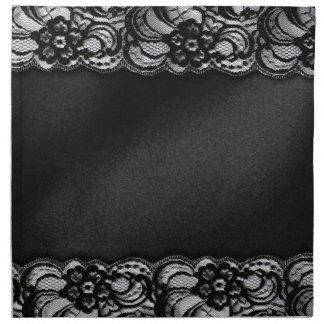 Black Lace and Satin Printed Napkin