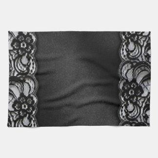 Black Lace and Satin Tea Towel